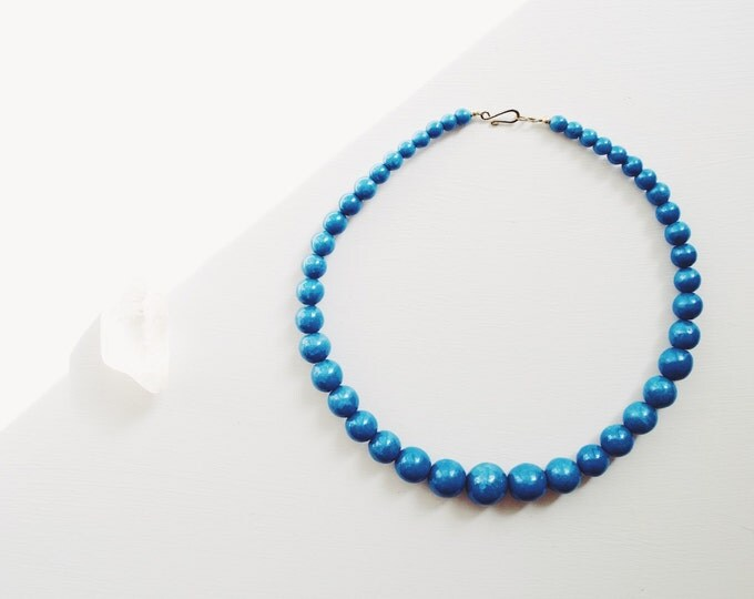 Vintage Handmade Wood Beaded Blue Necklace // Bohemian Jewelry