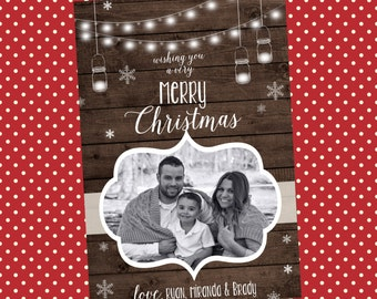 Digital Christmas Card - Rustic Holiday Cards - Merry Christmas Cards - Photo Christmas Cards