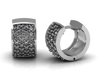 Diamond Mini Huggie Hoop Earrings 1.20 ct in White Yellow Rose Gold | made to order for you within 5-7 business days
