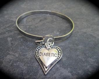 Diabetic Medical Alert Bangle Bracelet with Hook and Loop closure Diabetes Awareness Bracelet Filigree Heart charm bracelet