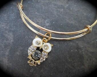 SPECIAL Owl Adjustable Bangle Bracelet with enamel and rhinestone gold finish charm expandable wire bangle bracelet