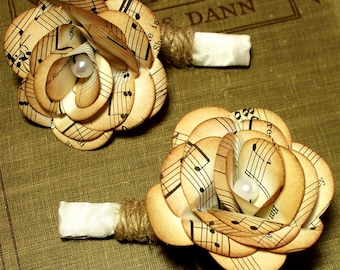 Vintage music paper boutonniere with twine and feathers