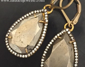 Pyrite Faceted Pave Teardrop Earrings, Pyrite Pave Earrings, Pyrite Leverbacks, Pave Earrings, Pyrite Teardrops, black earrings (EA56)