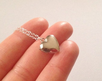Tiny Heart Locket Necklace in Silver -Beautiful Gift