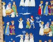 Christmas Fabric, Sage Glen Christmas Pagent, Alexander Henry Nativity Scene, Children Nativity, Blue background, 3 Yards, Christmas Sewing
