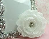 ON SALE 1 BEAUTIFUL / Swarovski Crystal Center Silk White Ranunculus Flowers Sparkle Flowers Hair Accessory