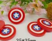 ON SALE 10pcs Captain America Party Cabochons Resin Flatbacks Scrapbooking Girl Hair Bow Center Crafts Making Embellishments DIY