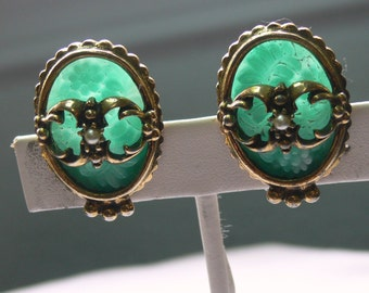 carved jade clip earrings