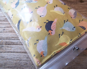 Relaxing eye pillow filled with  flaxseeds and  a hint of lavender -  golden bird fabric   - Ready for gift giving-Relax