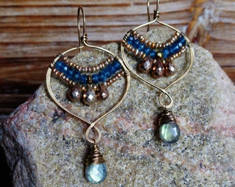 Space. Handmade Artisan Gold Brass Chandelier Drop Earrings with Wire Wrapped Labradorite, Gold Pearls, Iolite and Pyrite-Boho Gypsy Vintage