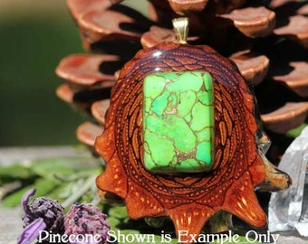 Green Mohave Turquoise Third Eye Pinecone Pendant