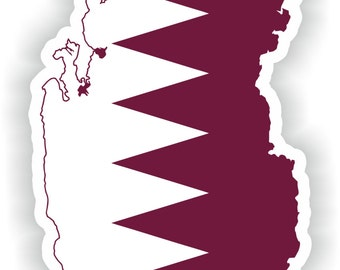 Qatar Map Flag Silhouette Sticker for Laptop Book Fridge Guitar Motorcycle Helmet ToolBox Door PC Boat