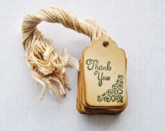 35 Thank You miniature xs Coffee stained vintage inspired favor gift tags. primitive. rustic. wedding. scrapbooking