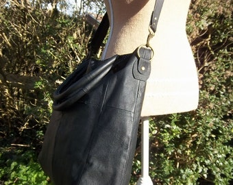 Sale recycled leather bag - Black leather large tote, shopper, crossbody bag with lovely spotty lining. Now in sale