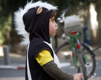 Skunk playsuit / summer costume / baby halloween costume / kids costume/ Halloween Costume for Boys or Girls, Toddler Costume