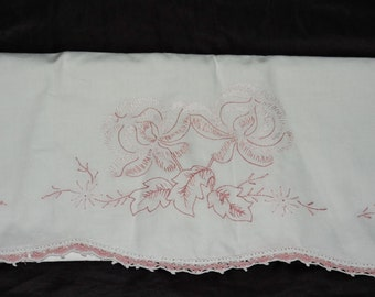 Vintage White Pink Floral Hand Embroidered Pillowcase Standard Pillow Crochet Edge Flowers 1950s 50s