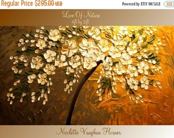 Sale XLarge gallery wrap canvas Original Contemporary   oil/acrylic  Impasto Love Of Nature painting by Nicolette Vaughan Horner
