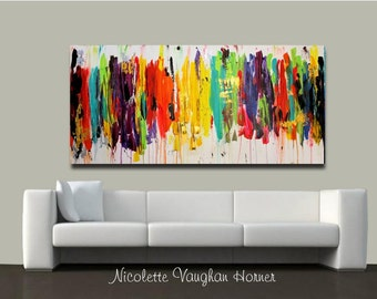Original X Large Abstract Painting Multi Shades  Ready to Hang Gallery Canvas Contemporary Fine Art Nicolette Vaughan Horner