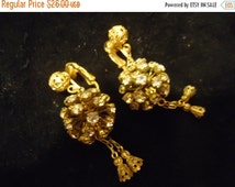 NOW ON SALE Vintage Rhinestone 1950's Earrings Old Hollywood Glam Black Tie Formal Glamour Girl Rockabilly Retro Jewelry