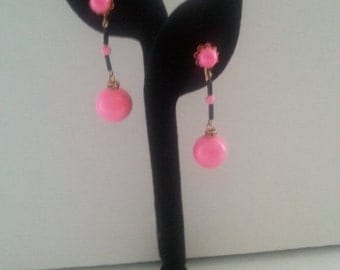 Now On Sale Vintage Designer Signed Vendome Pink Dangle Drop Earrings ** 1960's Retro Rockabilly Accessories ** Mad Men Mod Old Hollywood Gl
