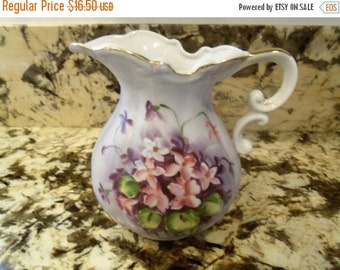 Now On Sale Vintage Flower Vase Porcelain Pitcher Very Pretty Purple Pink Colors Norcrest Japan Shabby Chic Country Cottage Kitsch