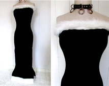 Black White Spandex Faux Fur Trim Sexy Tight Maxi Prom Formal Dress