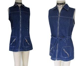 90's Denim Zipper Jean Mini Grunge Sleeveless Dress
