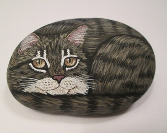 Brown Tabby Cat hand painted on a stone - pet rock - by Ann Kelly