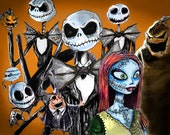 "Nightmare Before Christmas art collage by Lee Howard - Art Print Reproduction 8"" x 10"""
