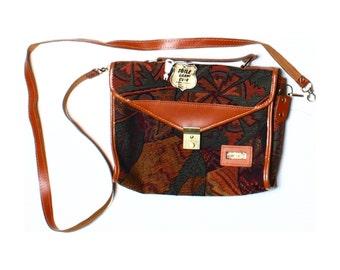 Vintage 80s Toile Garne Cuir Brown Leather Trim Shoulder Bag Key