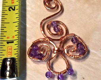 Fleur de Amethyst Pendant Handmade in the USA Copper Wire Wrapped