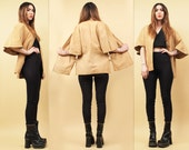 60s 70s Vtg Nubuck LEATHER Short Sleeve KIMONO Jacket Corset Lace Up Detail Layering Top / Mod Hippie B.CASHIN Style / Xs Sm