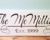 Wood Sign 9x24 Family name established personalized no vinyl
