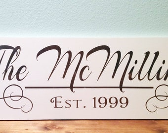 Wood Sign 9x24 Family name established personalized