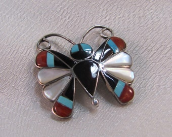 Zuni Sterling Inlaid Butterfly Pendant/Brooch, Artist Signed
