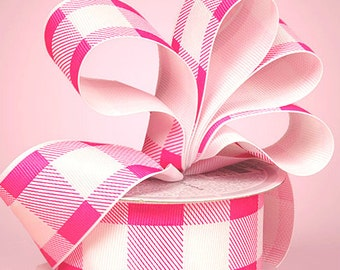 """5yds Grosgrain 1-1/2"""" HOT PINK & WHITE Plaid Gingham Checkered Ribbon (Free Shipping!)"""