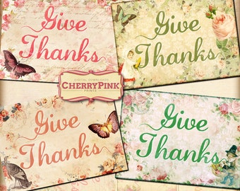 GIVE THANKS TAGS, Thanksgiving labels, 8 gift tags, instant download tag, old postcard style with paper textures, birds and butterflies