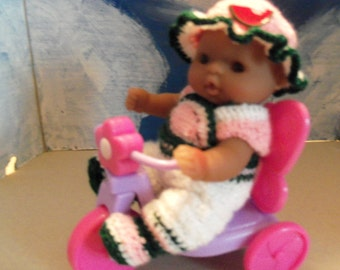 5 Inch Berenguer Doll in Crocheted Outfit and Accessory