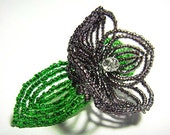 Purple Flower Floral Green Leaf Bloom French Beaded Fascinator - Sparkle Collection