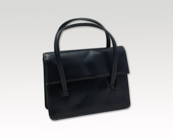 Irish Vintage, Navy Blue Leather Handbag, Top Handle Bag, Purse 1960's