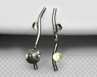 mixed metal earrings, stud , brass, sterling silver, contemporary