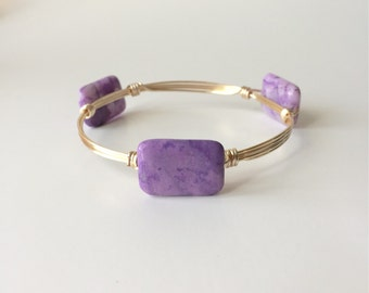 Purple Ocean Jasper Stone Wire Wrapped Bangle Bracelet