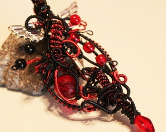 Red and Black Wire Wrapped Skeleton Key Pendant Necklace Heart Wings Vampire Dragon