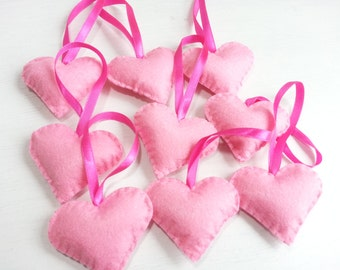 Color of Love  - Heart Ornaments (Pink) - Set of 9