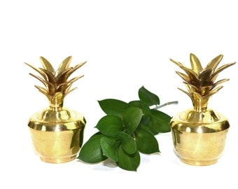 Set of 2 Vintage Brass Pineapple Candlestick Holders Jungalow Decor Wedding Candle Holders - A Pair