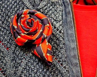 Silk Necktie Flower Brooch, Eco Chic Upcycled Mens Neck Tie Fabric Corsage, Navy Blue Red Gold Stripe Flower Lapel Pin itsyourcountry