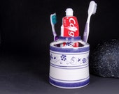 bitcoin Toothbrush Holder Bathroom blu blue provence decorations flowers from italy country style