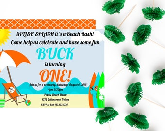 Beach Party Invitations - Beach Birthday - Surf Party - Summer Party Invitations
