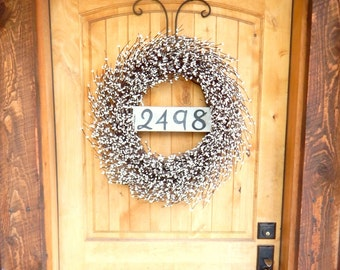 White Door Wreath-Door Sign-House Number Wreath-Outdoor Wreath-Year Round Wreath-Cottage Home Decor-Artificial Wreath-Custom Made USA-Gifts