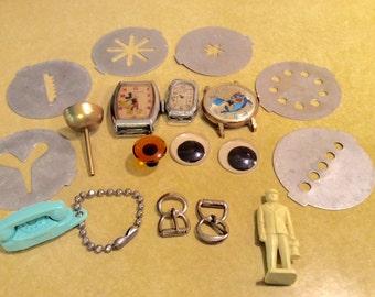 Repurpose Supplies Charlie Tuna Mickey Mouse Watch Toy Eyes Princess Phone Keychain Railroad Man